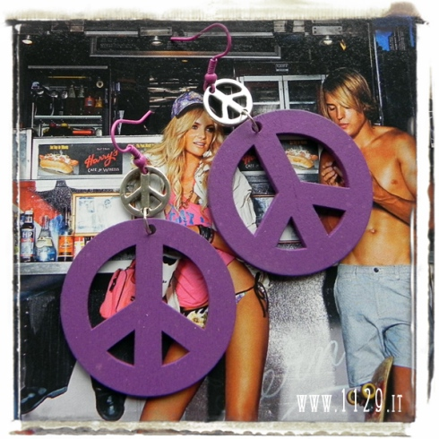 orecchini doppio simbolo pace viola purple charms fashion earrings peace sign 1129